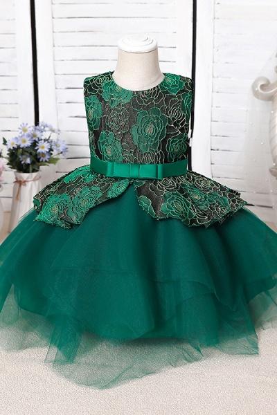 FS9964 Ball Gown Scoop Appliques Flower Girl Dress_3