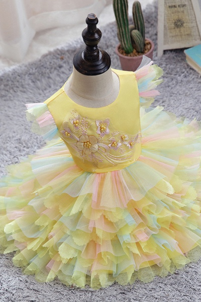FS9971 Yellow Tulle Ruffles Ball Gown Wedding Dress_2