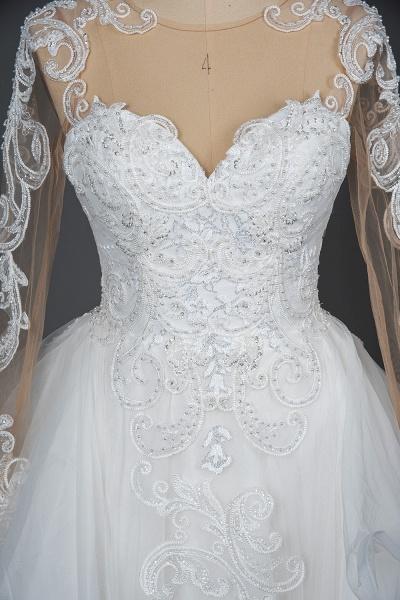 CPH246 Lace Long Sleeve Appliques Ruffles Ball Gown Wedding Dress_13