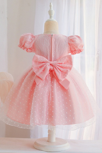 FS9967 Pink Short Sleeve Lace Flower Girl Dress_6