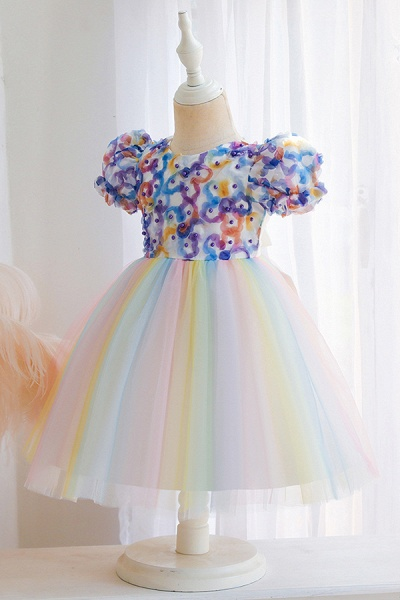 FS9968 Scoop Short Sleeve Ball Gown Flower Girl Dress With Bow_6