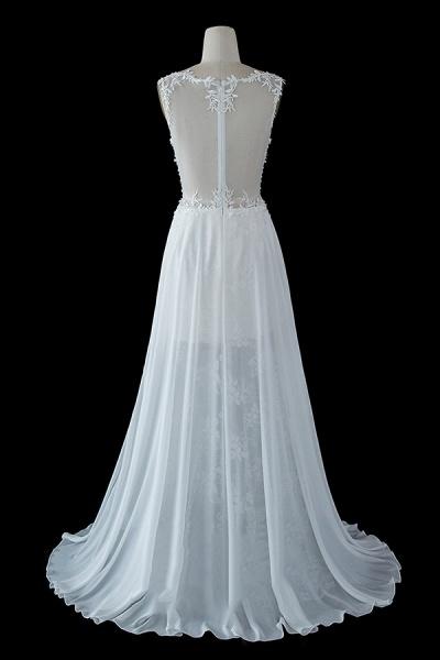 BC5671 Straps Lace Side Split Sheer Tulle A-line Wedding Dress_3