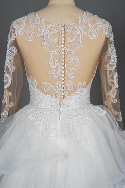 CPH246 Lace Long Sleeve Appliques Ruffles Ball Gown Wedding Dress_3
