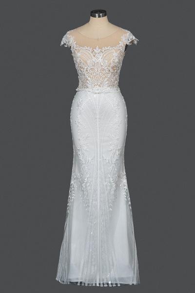 CPH248 Gergrous Lace Cap Sleeve Sheath Wedding Dress With Detachable Train_12