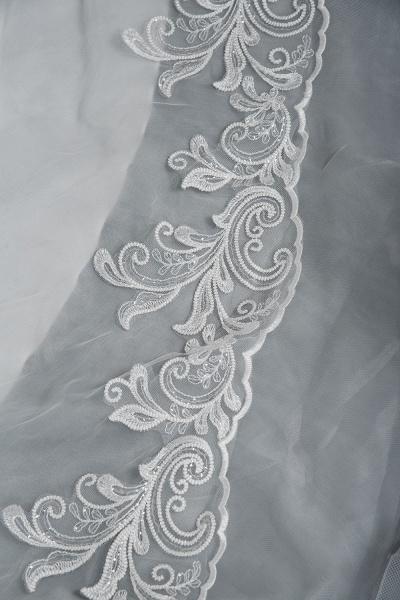 CPH246 Lace Long Sleeve Appliques Ruffles Ball Gown Wedding Dress_5
