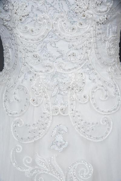 CPH246 Lace Long Sleeve Appliques Ruffles Ball Gown Wedding Dress_10