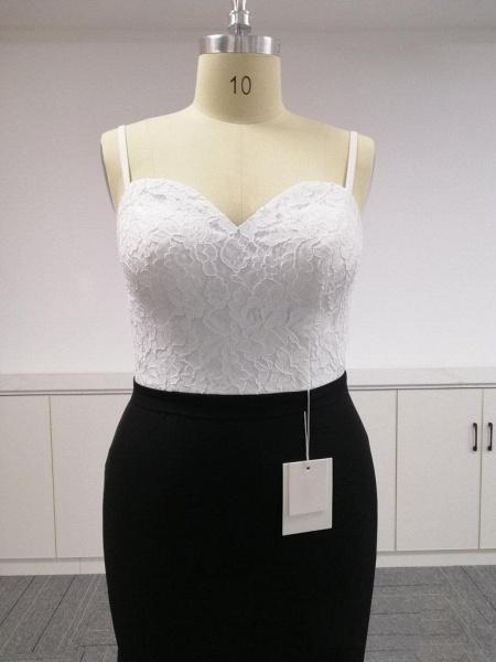 BA4780 Spaghetti Straps Mermaid Lace Satin Bridesmaid Dress_6