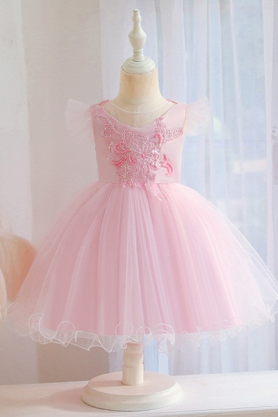 FS9965 Pink Floral Appliques Ball Gown Flower Girl Dress_2