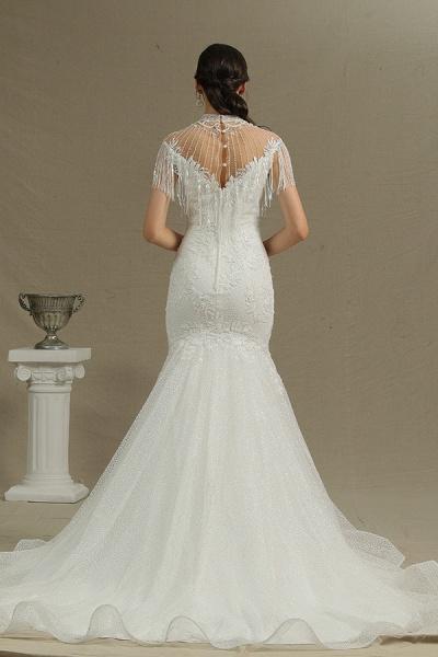CPH231 Shimmy Mermaid High Neck Beadings Tassel Wedding Dress_4