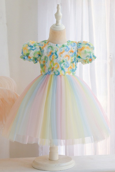 FS9968 Scoop Short Sleeve Ball Gown Flower Girl Dress With Bow_3