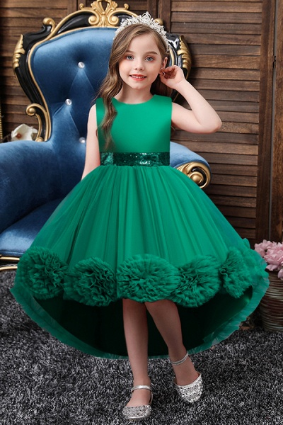 FS9980 Green Scoop Jewel Flower Girl Dress For Wedding