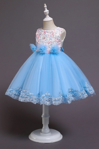 FS9979 Scoop Lace Bow Knee Length Flower Girl Dress_7