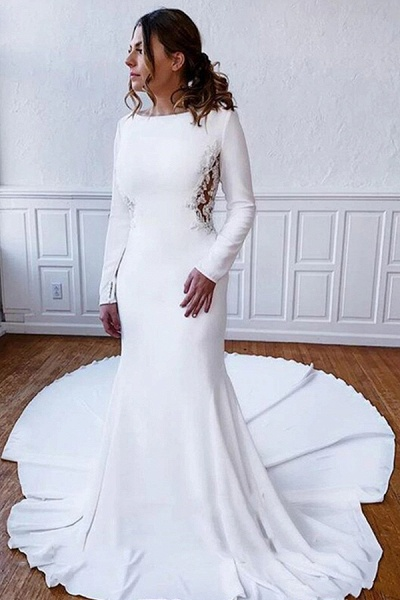 BC5750 Simple Long Sleeve Illusion Lace Back Sheath Wedding Dress_1