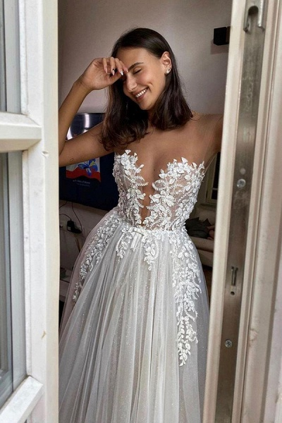 BC5802 Gorgeous Sheer Tulle Appliques A-line Floor Length Wedding Dress_4