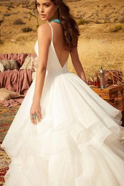 BC5737 Spaghetti Straps V-neck Backless A-line Ruffles Tulle Wedding Dress_4