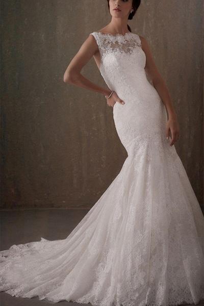 BC5740 Mermaid Illusion Lace Jewel Backless Wedding Dress_1