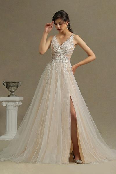 CPH235 Straps Floral Appliques A-line Side Split Backless Wedding Dress_2