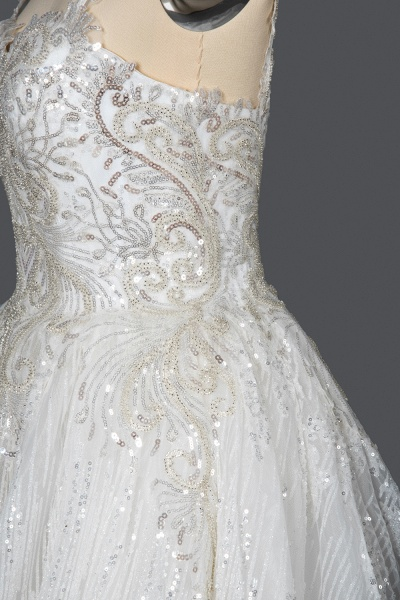 CPH249 Straps Sequins Sweetheart Pleated Ball Gown Wedding Dress_8