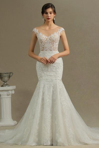 CPH232 Mermaid Cap Sleeve Sheer Tulle Appliques Wedding Dress_2