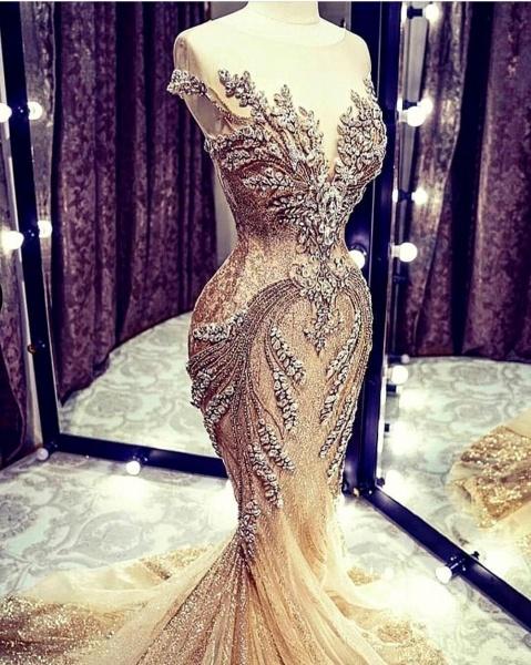Luxury Beadings Crystal Cap Sleeve Mermaid Prom Dress_3