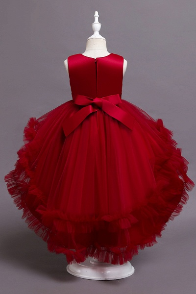 FS9977 Red Belt Tulle Ruffles Flwoer Girl Dress_6