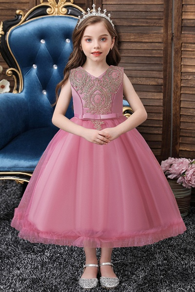 FS9975 Appliques Scoop Tea Length Flower Girl Dress