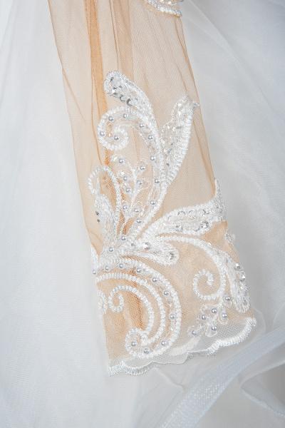 CPH246 Lace Long Sleeve Appliques Ruffles Ball Gown Wedding Dress_7