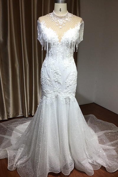 CPH231 Shimmy Mermaid High Neck Beadings Tassel Wedding Dress_2