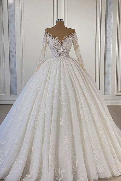 BC5665 Gorgeous Lace Long Sleeve Beads Ball Gown Wedding Dress
