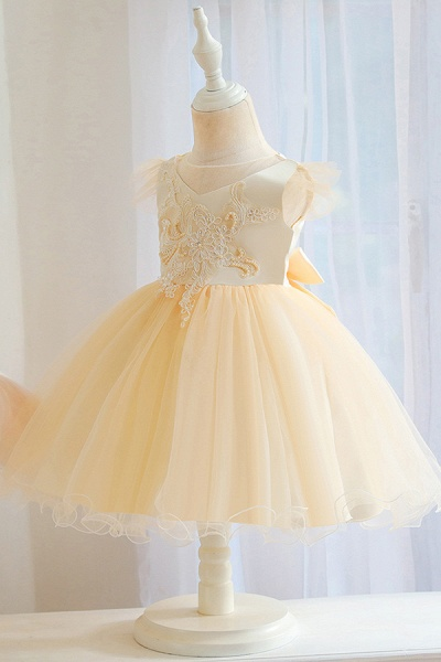 FS9982 Ball Gown Appliques White Pleated Flower Girl Dress_4