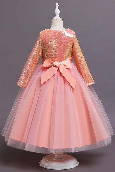 FS9969 Long Sleeve Sequins Tea Length Flower Girl Dress_6