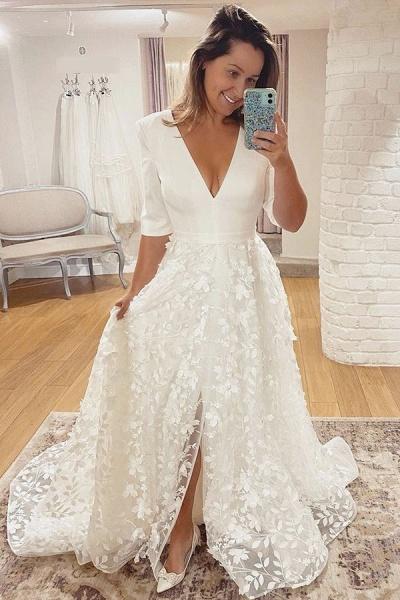 BC5799 V-neck Lace A-line Side Split 3/4 Sleeve Wedding Dress_3