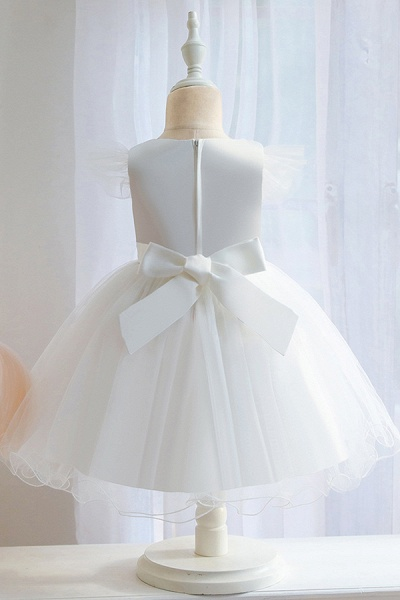 FS9982 Ball Gown Appliques White Pleated Flower Girl Dress_7