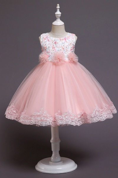 FS9979 Scoop Lace Bow Knee Length Flower Girl Dress_1