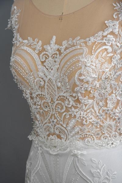 CPH248 Gergrous Lace Cap Sleeve Sheath Wedding Dress With Detachable Train_7