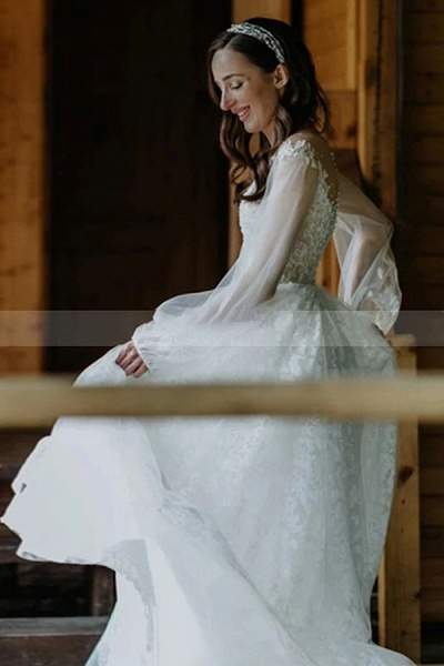 BC5756 Stunning A-line Tulle Long Sleeve Lace Wedding Dress_2