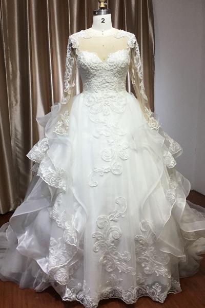 CPH246 Lace Long Sleeve Appliques Ruffles Ball Gown Wedding Dress_1