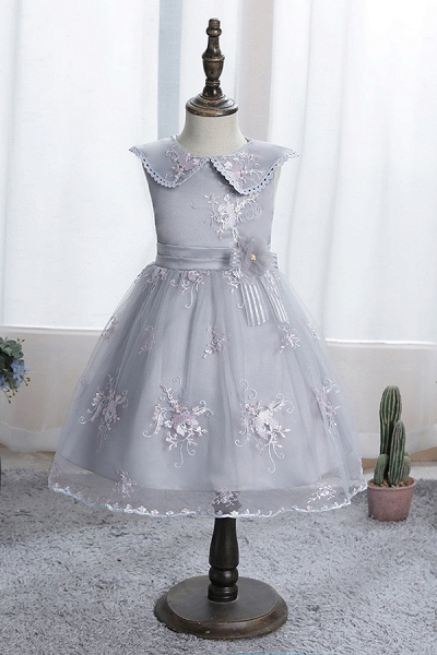 FS9976 Blue Appliques Tulle Knee Length Flower Gril Dress_3