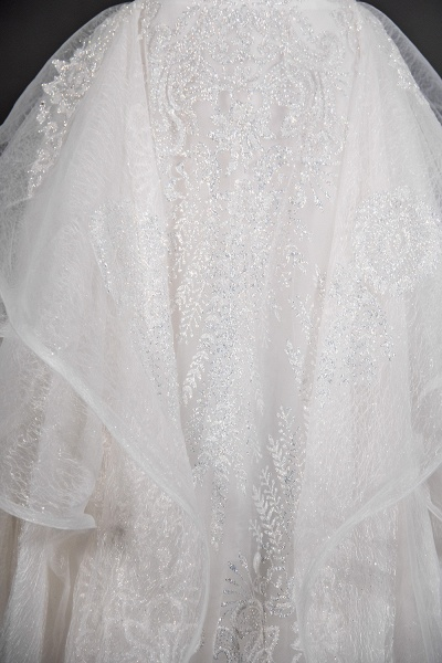 CPH250 Luxury Sequins Appliques Tulle Ruffles Ball Gown Wedding Dress_6