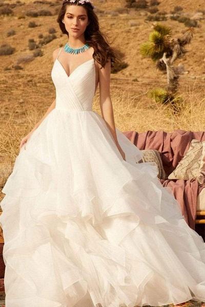 BC5737 Spaghetti Straps V-neck Backless A-line Ruffles Tulle Wedding Dress_5