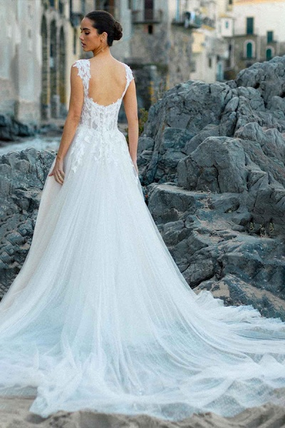 BC5754 Delicate Lace Straps Sweetheart Tulle A-line Boho Wedding Dress_5