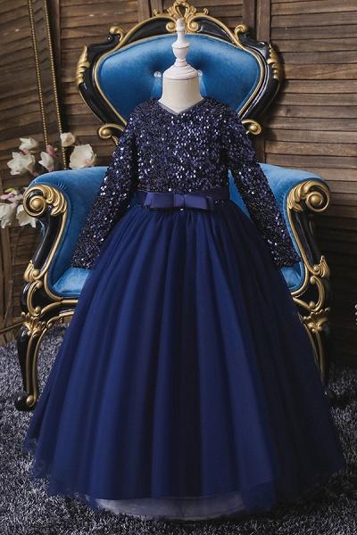 FS9973 Long Sleeve Sequins Burgundy Flower Girl Dress_2