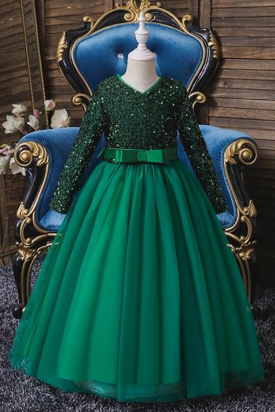 FS9973 Long Sleeve Sequins Burgundy Flower Girl Dress_4