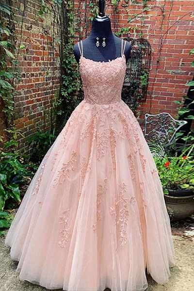 BC3627 A-line Lace Beaded Spagheitt Straps Evening Prom Dresses | Evening Party Prom Dresses_5