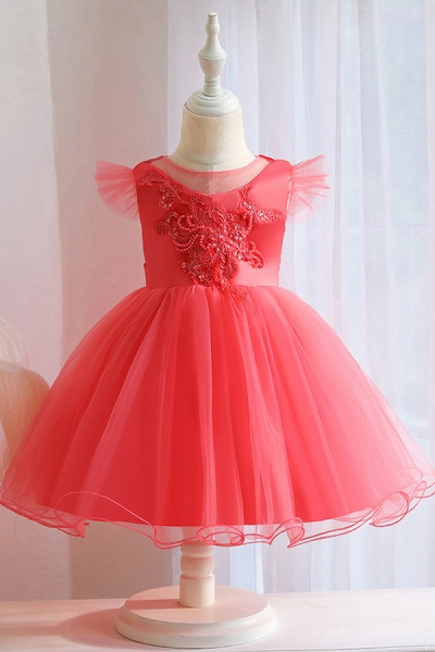 FS9965 Pink Floral Appliques Ball Gown Flower Girl Dress_3