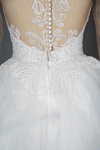 CPH246 Lace Long Sleeve Appliques Ruffles Ball Gown Wedding Dress_14