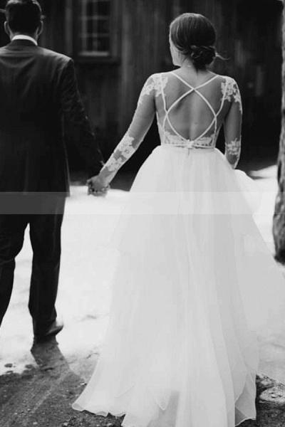 BC5746 Lace Long Sleeve Sheer Tulle A-line Floor Length Wedding Dress_2