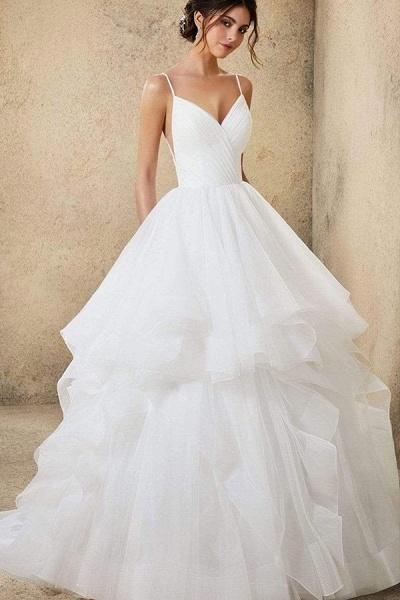 BC5737 Spaghetti Straps V-neck Backless A-line Ruffles Tulle Wedding Dress_6
