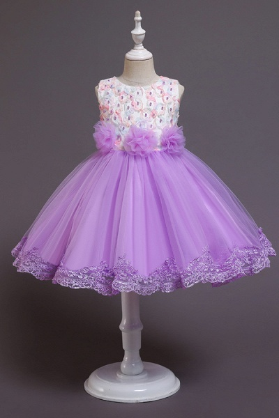 FS9979 Scoop Lace Bow Knee Length Flower Girl Dress_2