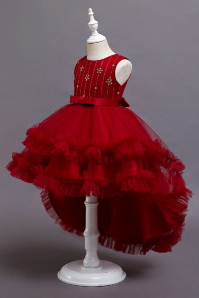 FS9977 Red Belt Tulle Ruffles Flwoer Girl Dress_7